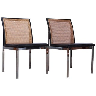 Lane Mid-Century Chrome & Cane Chairs - A Pair