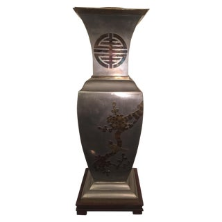 Brass Pewter James Mont Style Asian Lamp