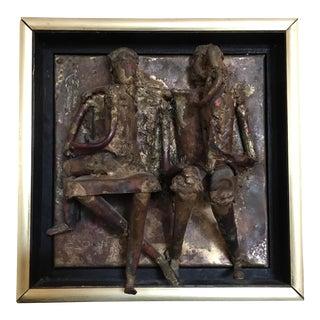 Artist Signed Brutalist Copper & Brass Family