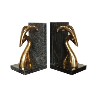 Brass Ibex on Black Marble Base Bookends - A Pair