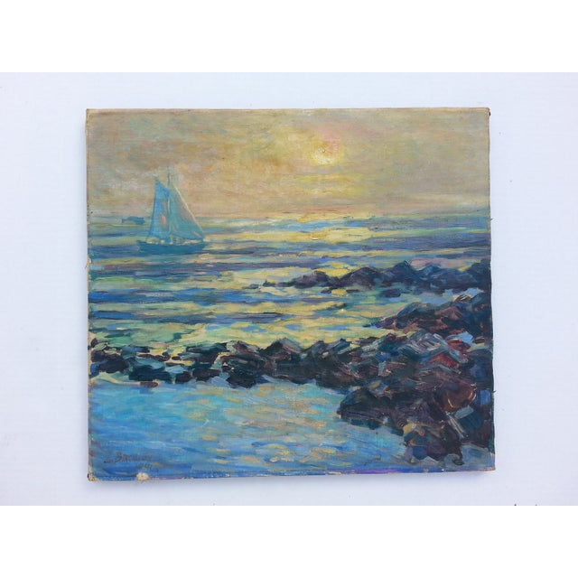 Image of Sailboat on the Ocean Oil Painting