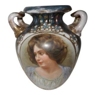 Victorian Lady Portrait Porcelain Vase Urn