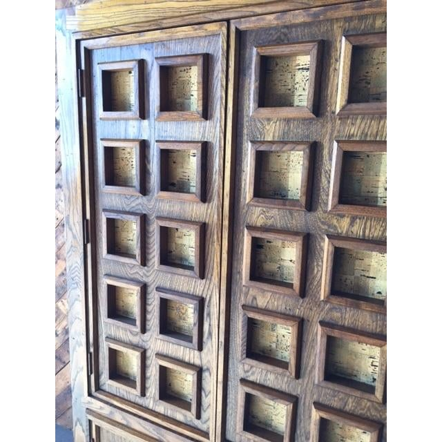 Vintage Wood and Cork Brutalist Armoire - Image 9 of 9