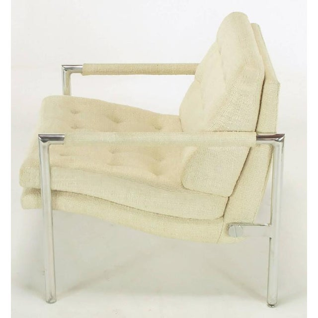 Pair of Polished Aluminum & Linen Lounge Chairs in the Manner of Harvey Probber - Image 7 of 9