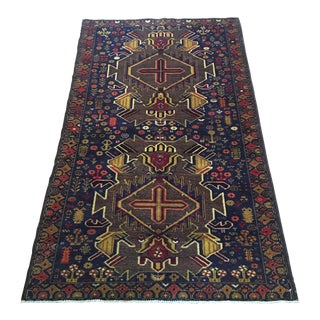 Vintage Balouch Hand Knotted Wool Rug - 3′5″ × 6′1″