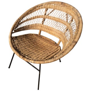 Mid-Century Modern Rattan Scoop Chair