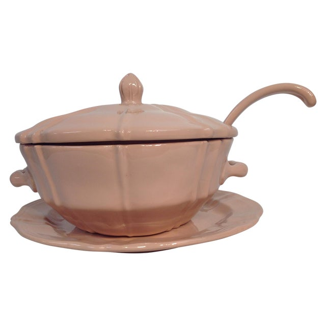 Pink 1920s Soup Tureen With Lid And Ladle - Image 1 of 8