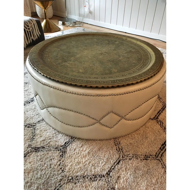 Custom Stud Leather Coffee Table With Brass Tray - Image 7 of 7