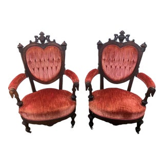 Antique Red Velvet Tufted Chairs - A Pair