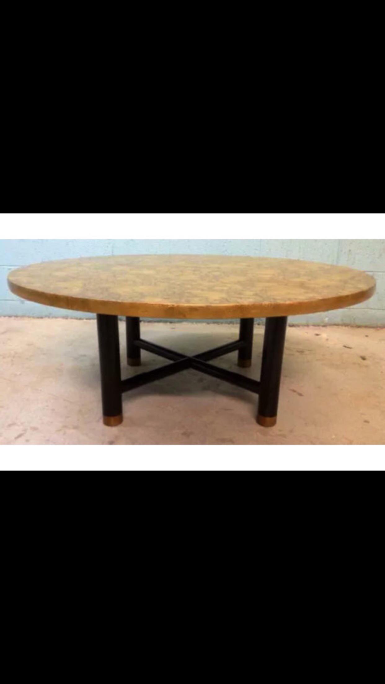 Vintage Henredon Black U0026 Gold Coffee Table   Image 2 ...