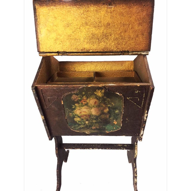Image of Antique Victorian Wooden Standing Sewing Box