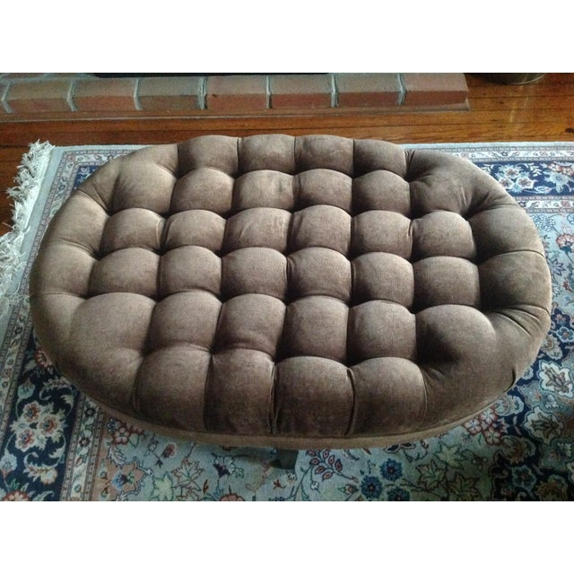 Contemporary Tufted Oval Ottoman - Image 5 of 5