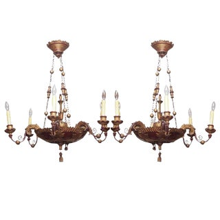 Pair of Carved and Painted Italian Chandeliers