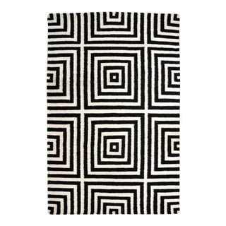 Black Geometric Wool Rug - 4′11″ × 7′6″