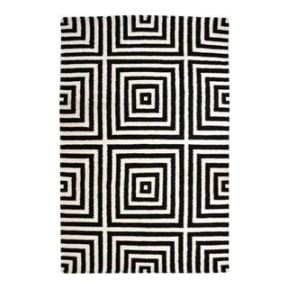 Black Geometric Wool Rug - 4′11″ × 7′6″