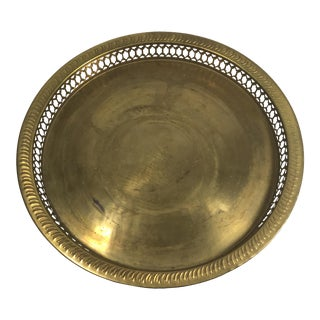 Vintage Indian Carved Rim Brass Tray