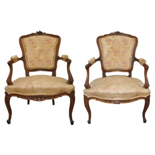 French Louis XVI Style Fauteuil Arm Chairs - Pair