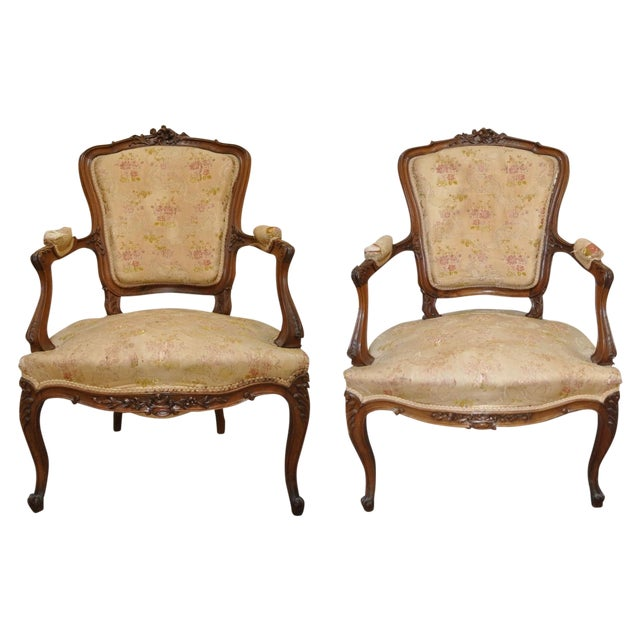 french louis xvi style fauteuil arm chairs pair chairish. Black Bedroom Furniture Sets. Home Design Ideas
