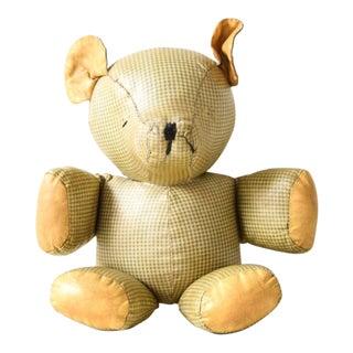 Antique Hand Stitched Stuffed Plaid Teddy Bear