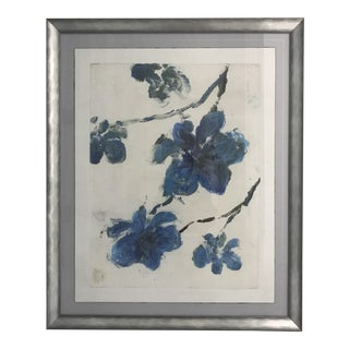Blue Flowers Monotype in Silver-Tone Frame