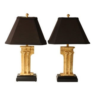 Frederick Cooper Gilded Column Table Lamps - Pair