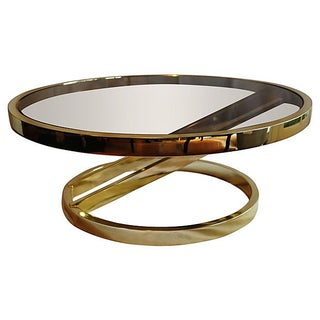 Brass & Smoked Glass Coffee Table