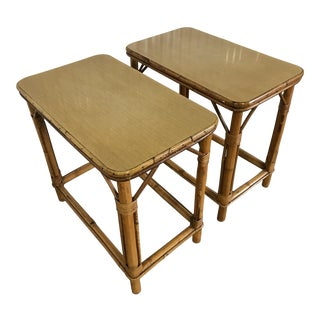Mid-Century Modern Tiki Bamboo Side Tables - A Pair