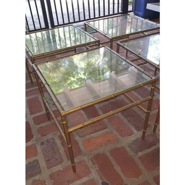 Faux Bamboo Metal Side Tables - Set of 4 - Image 3 of 5