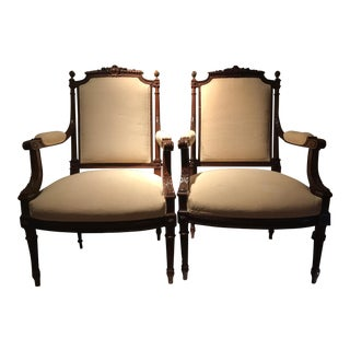 Louis 16th Walnut Frame Armchairs - A Pair