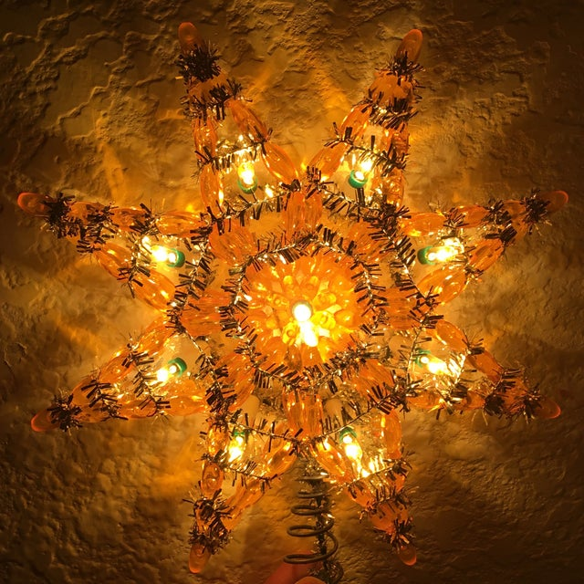 Vintage Silver & Yellow Light-Up Star Tree Topper - Image 6 of 7