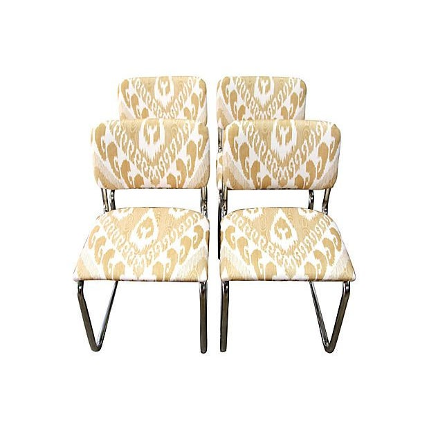 Ikat Cantilevered Chrome Chairs - Set of 4 - Image 3 of 7