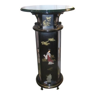 Tall Black Lacquer Glass Top Asian Pedestal Table