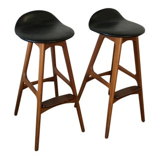Danish Modern Erik Buck Bar Stools - Pair