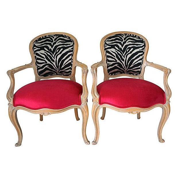 Vintage Pink & Zebra Print French Chairs - A Pair - Image 1 of 6