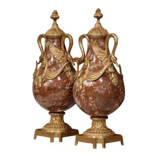 19th Century French Red Marble and Bronze Swan Handle Cassolettes - a Pair