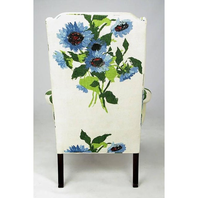Pair of Elegant and Bold Floral Linen Upholstered Wing Chairs by Hickory Chair - Image 4 of 6