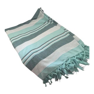 Boho Turquoise Striped Cotton Serape Throw, Blanket, Coverlet