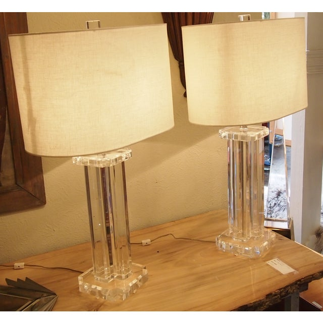 1970s Modern Acrylic Table Lamps- A Pair - Image 2 of 5