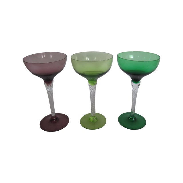 Vintage Blown Glass Champagne Glasses - Set of 3 - Image 1 of 8