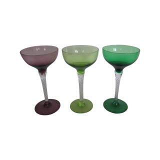Vintage Blown Glass Champagne Glasses - Set of 3