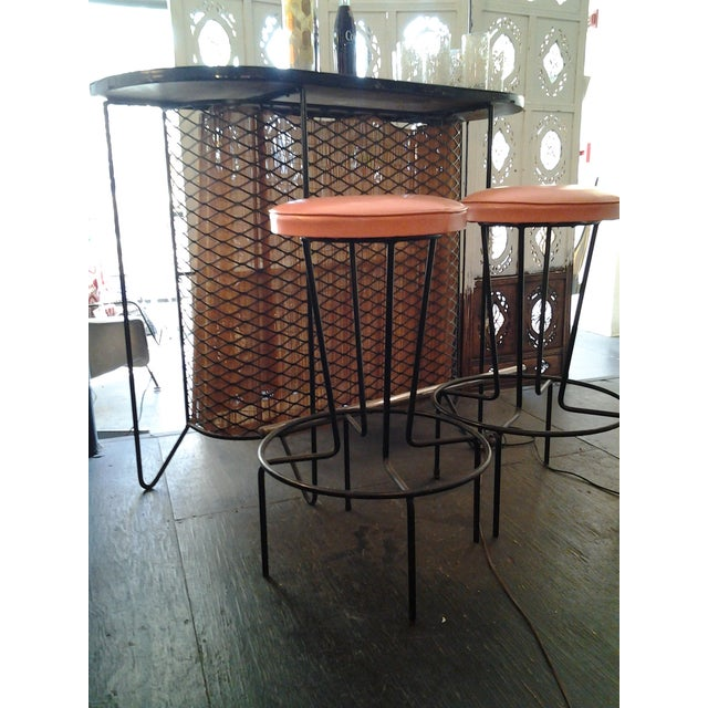 Image of Vintage Fred Weinberg Wrought Iron Bar & Stools