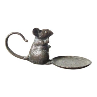 Antique Bronze Mouse Candle Holder