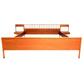 Italian Mid-Century Modern Bed with Floating Nightstands