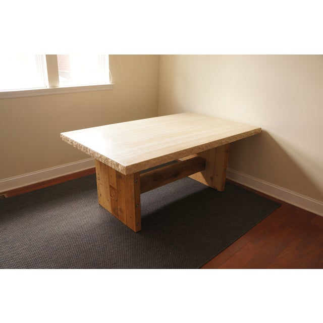 Image of Marble Top & Wooden Base Dining Table