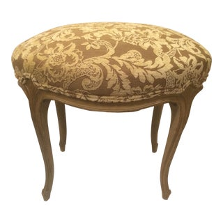 Vintage French Style Taupe and Cream Upholstered Bench