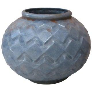 Art Deco Blue Cast Iron Vase