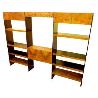 Smoked Lucite & Burl Olive Ash Wall Unit