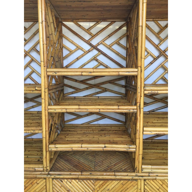 Vintage Split Bamboo Display Cabinet - Image 4 of 11