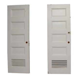 White Vented Wood Doors - A Pair
