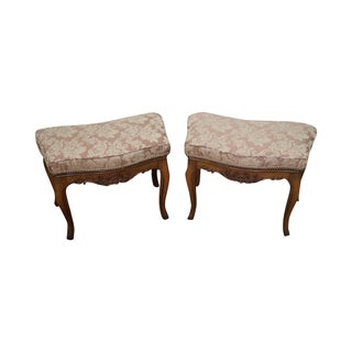 Vintage French Louis XV Walnut Ottomans - A Pair